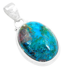 925 sterling silver 16.73cts natural green chrysocolla pendant jewelry p49094