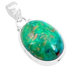 925 sterling silver 14.23cts natural green chrysocolla pendant jewelry p49097