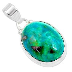 925 sterling silver 14.18cts natural green chrysocolla pendant jewelry p58000