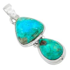 925 sterling silver 13.79cts natural green chrysocolla pendant jewelry p67487