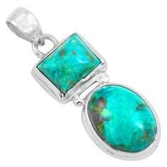 925 sterling silver 14.26cts natural green chrysocolla pendant jewelry p67704