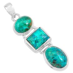 925 sterling silver 15.76cts natural green chrysocolla pendant jewelry p67707