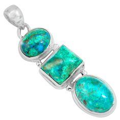 925 sterling silver 16.17cts natural green chrysocolla pendant jewelry p67719