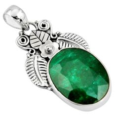 925 sterling silver 17.57cts natural green emerald oval pendant jewelry p90271