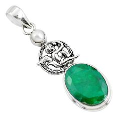 925 sterling silver 13.77cts natural green emerald pearl dragon pendant p56799