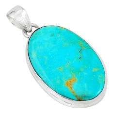 925 sterling silver 13.70cts natural green kingman turquoise oval pendant p65273