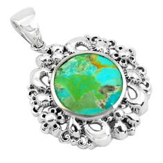 925 sterling silver 5.87cts natural green kingman turquoise pendant c1628