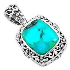 925 sterling silver 4.92cts natural green kingman turquoise pendant c1673