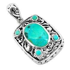925 sterling silver 4.70cts natural green kingman turquoise pendant c1700