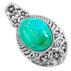 925 sterling silver 8.42cts natural green kingman turquoise pendant c1707