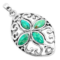 925 sterling silver 1.79cts natural green kingman turquoise pendant c1711