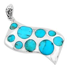 925 sterling silver 7.89cts natural green kingman turquoise pendant c1738