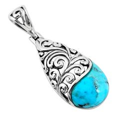 925 sterling silver 5.75cts natural green kingman turquoise pendant c1768