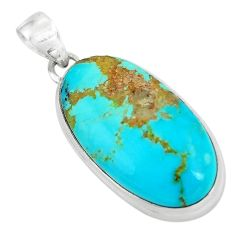 925 sterling silver 16.73cts natural green kingman turquoise pendant p65264