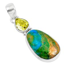 Clearance Sale- 925 sterling silver 13.15cts natural green opaline fancy amethyst pendant d31108