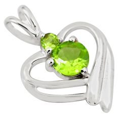 925 sterling silver 1.34cts natural green peridot heart pendant jewelry p82115