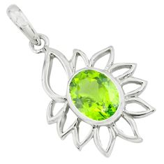 925 sterling silver 4.26cts natural green peridot oval pendant jewelry p62646
