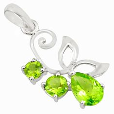 925 sterling silver 3.64cts natural green peridot pendant jewelry p82003