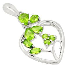 925 sterling silver 7.82cts natural green peridot pendant jewelry p82044