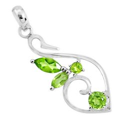 925 sterling silver 3.32cts natural green peridot pendant jewelry p82472