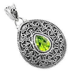 925 sterling silver 2.51cts natural green peridot pendant jewelry p86334