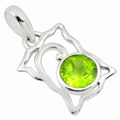 925 sterling silver 2.89cts natural green peridot round pendant jewelry p82103