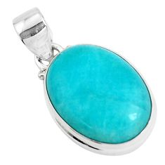 925 sterling silver 15.08cts natural green peruvian amazonite pendant p47600