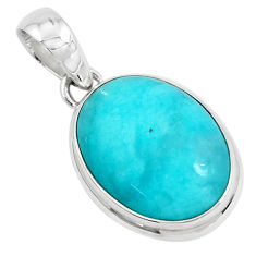925 sterling silver 18.15cts natural green peruvian amazonite pendant p49335