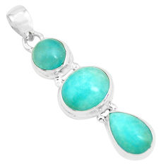 925 sterling silver 13.71cts natural green peruvian amazonite pendant p70563