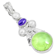 Clearance Sale- 925 sterling silver 18.17cts natural green prehnite amethyst pendant d31013