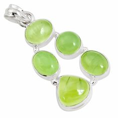 925 sterling silver 17.14cts natural green prehnite pendant jewelry p34024