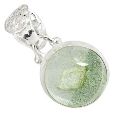 925 sterling silver 14.14cts natural green scenic lodolite round pendant p79077