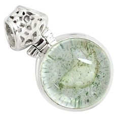 925 sterling silver 14.23cts natural green scenic lodolite round pendant p79097