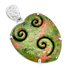 925 sterling silver 29.09cts natural green unakite pendant jewelry p35911