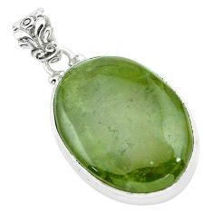 925 sterling silver 22.30cts natural green vasonite oval pendant jewelry p66244