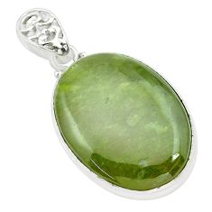 925 sterling silver 31.50cts natural green vasonite oval pendant jewelry p66249