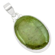 925 sterling silver 24.00cts natural green vasonite oval shape pendant p66255