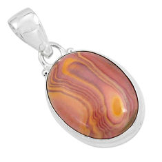 925 sterling silver 14.72cts natural heckonite rainbow oval pendant p59658