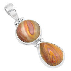 925 sterling silver 12.36cts natural heckonite rainbow pendant jewelry p67659