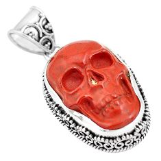 925 sterling silver 16.81cts natural jasper red skull pendant carving p77309