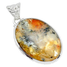925 sterling silver 19.42cts natural multi color plume agate oval pendant p34107