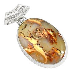 925 sterling silver 24.00cts natural multi color plume agate oval pendant p34111