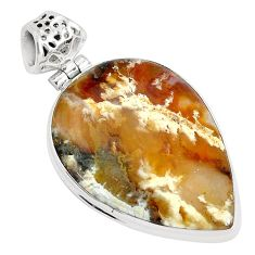 925 sterling silver 18.68cts natural multi color plume agate pear pendant p34104