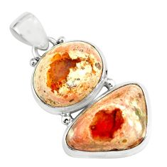 925 sterling silver 20.33cts natural multicolor mexican fire opal pendant p67780