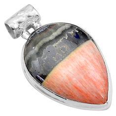 925 sterling silver 24.38cts natural orange celestobarite pendant jewelry p85297