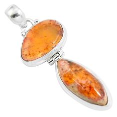 925 sterling silver 21.50cts natural orange mexican fire opal pendant d31892