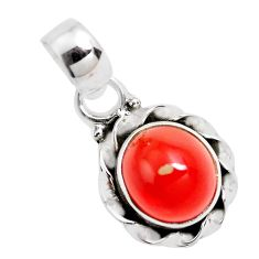 925 sterling silver 3.50cts natural orange mexican fire opal pendant p41536
