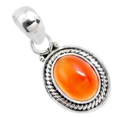 925 sterling silver 4.24cts natural orange mexican fire opal pendant p41539