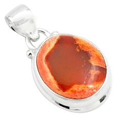 925 sterling silver 14.23cts natural orange mexican fire opal pendant p76309