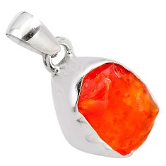925 sterling silver 9.22cts natural orange mexican fire opal pendant p84313